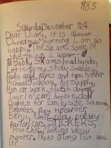 My Christmas wish list journal entry, 12/24/1983, age 7