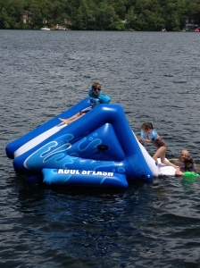 Can a day at the lake with friends get any better?  Just add a giant inflatable slide!